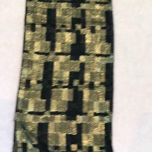 "Pretty black with gold thread scarf. 10""wide"